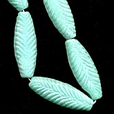 b11-gr-0821-Czech pressed flat oval feather. 19x10mm. Pkg of 2
