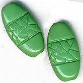 b11-gr-0875-Vintage German jade glass flattened oval. 16x8mm. Pkg of 4