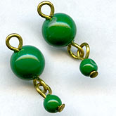 Vintage Japanese jade green 2-bead dangle on wire. 6-and-3mm. Pkg of 4. b11-gr-0949(e)
