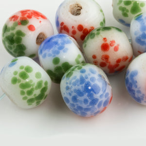 Peking glass crumb beads. 12mm round. Pkg of 5. b11-mi-0073(e)