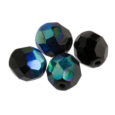 Vintage black iris faceted rounds. 8mm. Pkg of 20. b11-mi-0113(e)