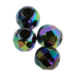 Vintage faceted black iris round Germany. Pkg of 4. b11-mi-0131(e)