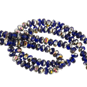 Mixed strand of faceted blue, silvered and AB rondelles 2x4mm. 5.5 inch strand of 50 beads. b11-mi-1168