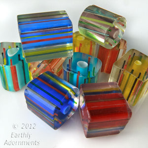 Vintage Italian cane glass 14mm mixed colors and shapes 14 pcs. b11-mi-1178