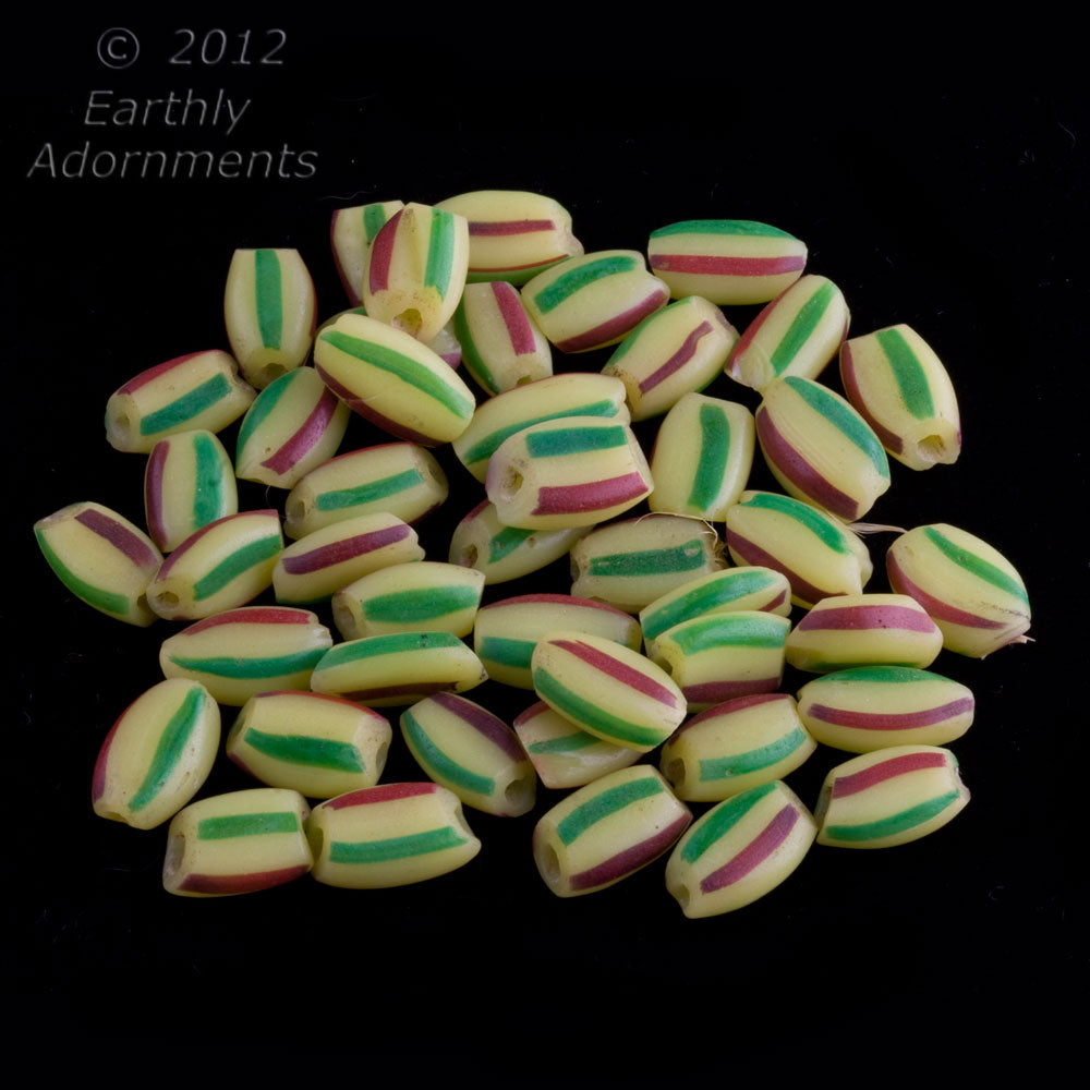 Vintage Venetian striped ovals for the African trade, 14x10mm.