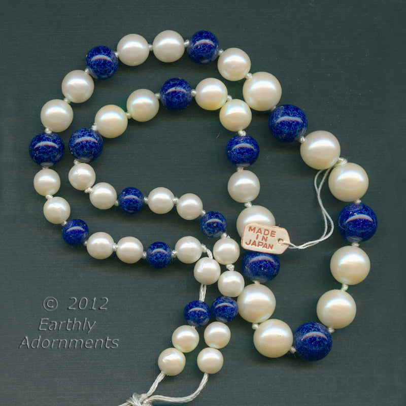 Vintage Japan knotted graduated strand of glass pearls and lapis blue glass beads. 20 inch strand. b11-mi-1202