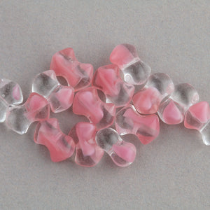 Vintage Czech clear and rose givre glass interlocking bowtie beads 9mm. Pkg 25. b11-pp-0337-1