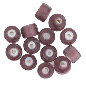 Czech Whitehearts in Translucent Purple Matte Glass.. 7x8mm. Pkg of 10. b11-pp-0747b(e)