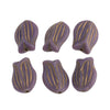 Czech molded opaque lavender glass tulip bead with gold decor.16x11mm. Pkg of 6. b11-pp-0844
