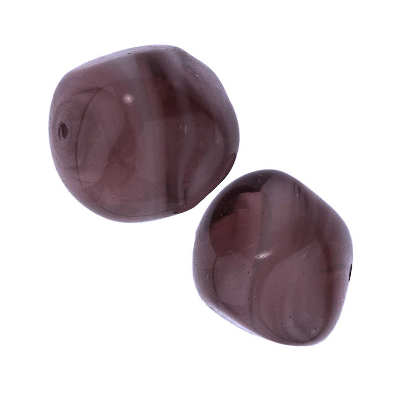 Old Venetian amethyst lampwork glass nuggets. 12x15mm. Pkg of 2. b11-pp-0875(e)