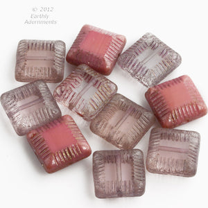Czech 14mm pink mix Picasso carved beads, 3 color styles. Strand of 10.  b11-pp-1224