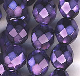 B11-PP-0668 Czech Violet Faceted Glass Rounds. 8mm. Pkg of 10