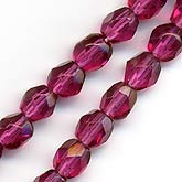 b11-pp-0697 Czech faceted fuchsia rounds. 4mm. Pkg of 50