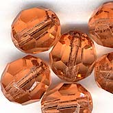b11-pp-0730 Vintage German faceted peach rounds. 9mm. Pkg of 10