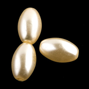 Vintage Japanese champagne large glass pearl, 18x11mm, pkg of 4. b11-pr-0133(e)