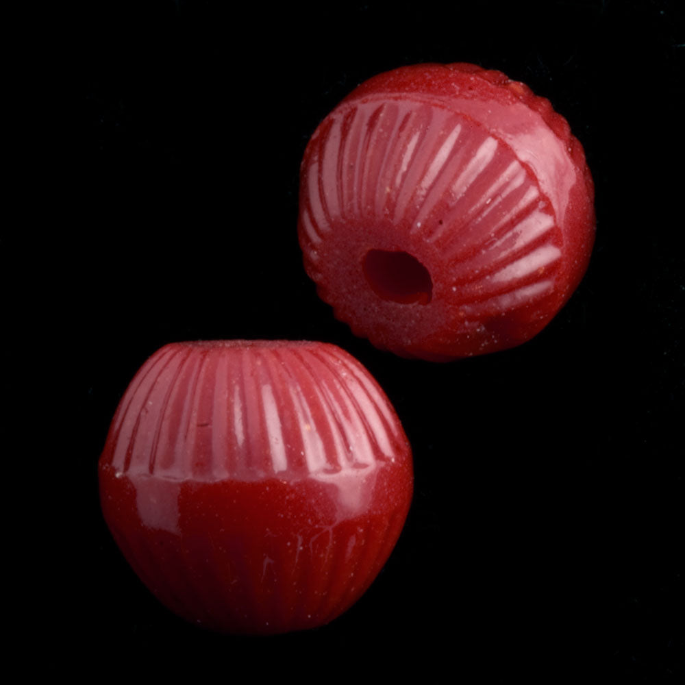 B11-RD-0430 Vintage lustrous fluted red melon beads. 8mm. West Germany,Pkg of 10