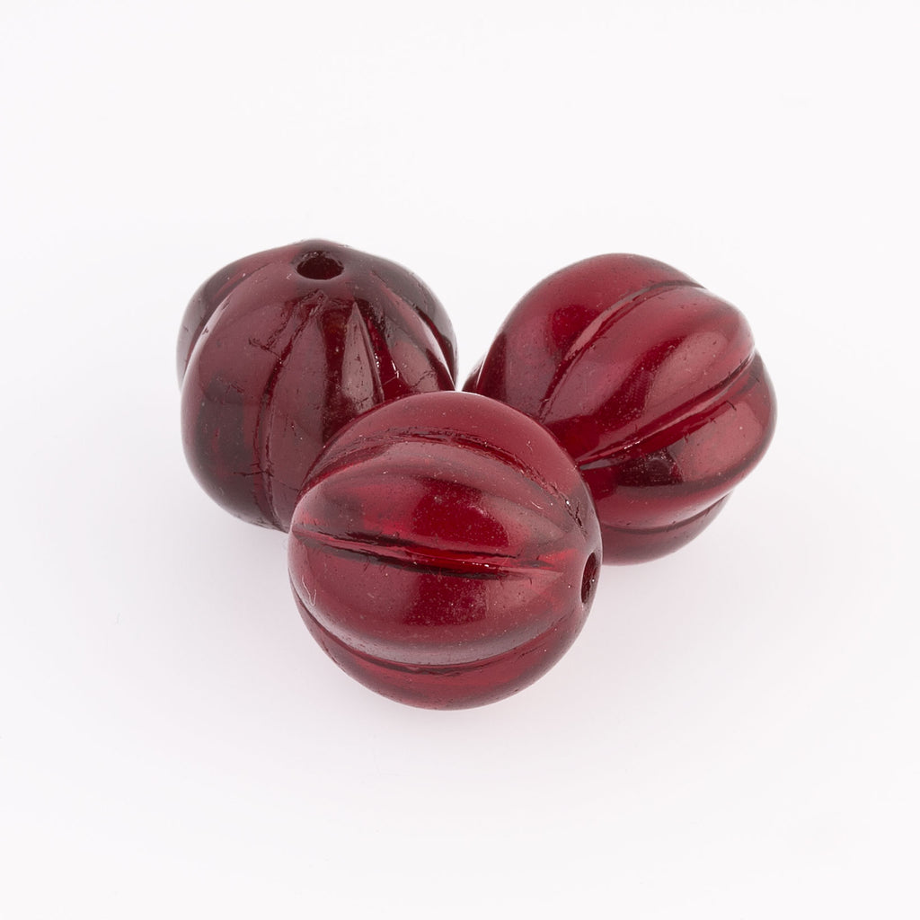 Vintage Czech large ruby translucent glass melon bead. 20mm. 1950s.Pkg.1. b11-rd-0496