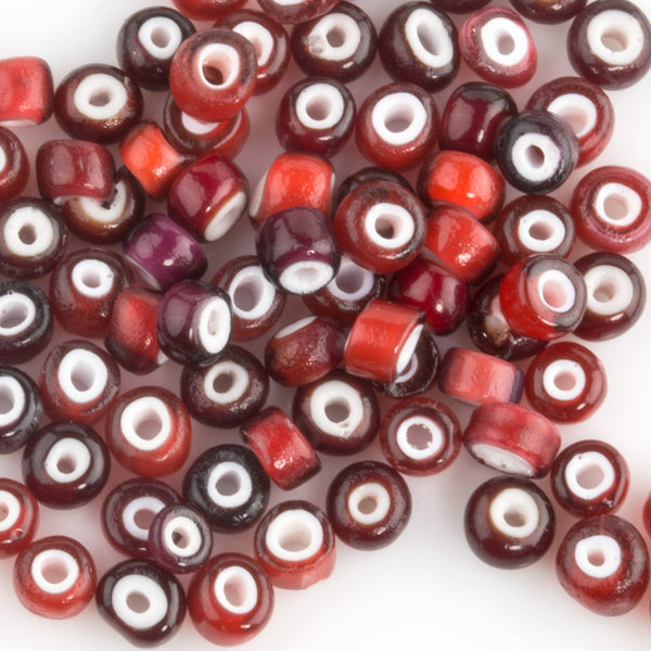 Antique Venetian whiteheart beads 4-5mm. Murano, Italy, early 1900s.  15 gr bag.  B11-RD-0885