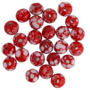 Vintage Japanese red and white speckled rounds. 5mm. Pkg of 25. b11-rd-0700(e)