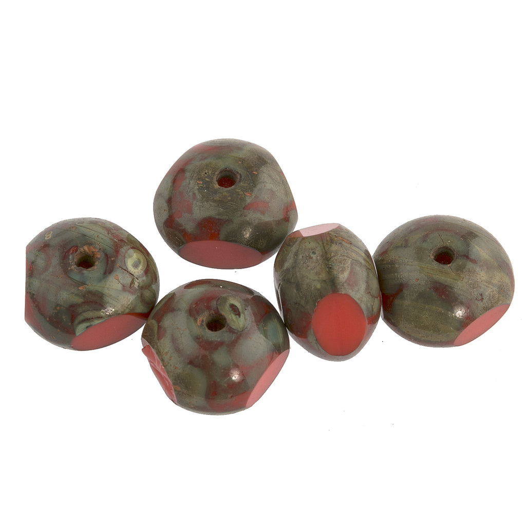 Contemporary Czech Persimmon Red sliced glass with Picasso finish bead.  6x8mm. Pkg of 5. B11-RD-0768