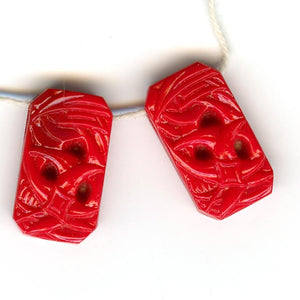 1920s Gablonz molded red glass pendants 11x20mm Pkg of 4. b11-rd-0785