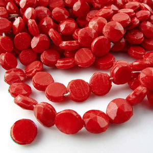 Vintage faceted red domed nailheads. 6mm Strand or pkg of 23. b11-rd-0813