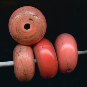 Old Sherpa glass coral beads from India or Nepal.  10mm x 17-19mm. Sold individually. b11-rd-0825-1