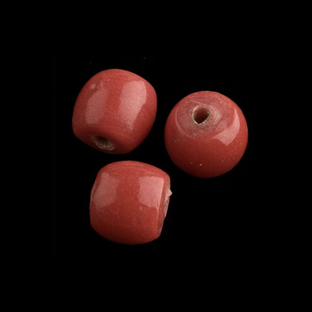 Chinese Peking glass drum shaped beads in an opaque coral. 11x10mm. Package of 6. b11-rd-0866
