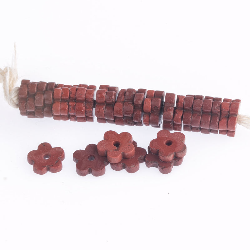 Antique Bohemian terracotta color molded glass flower spacer beads. C. 1900. 10x2mm. 25 pcs. b11-rd-0891