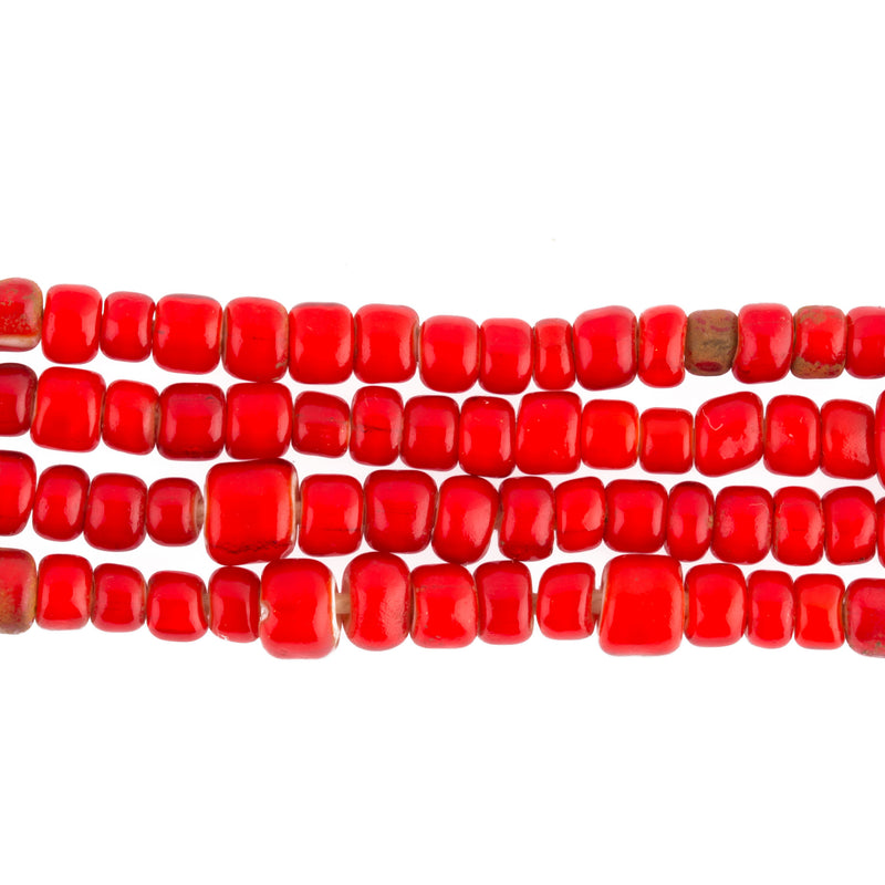 Old Venetian red white heart beads from the African trade. 6mm. 24 inch strand. b11-RD-0894