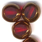 b11-rd-0584 Czech Red and Bronze Window Bead. 10mm. Pkg of 4.