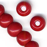b11-rd-0573 Czech red scallop shell bead. 14mm. Pkg of 5.