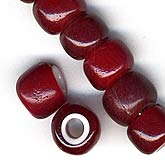 b11-rd-0631 French Whitehearts in Ruby Red. 6x8mm. Pkg of 10