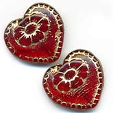 17mm Victorian heart with a flower etching. Pkg of 2. b11-rd-0656