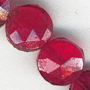 b11-rd-0677-Antique ruby glass nailhead beads.5mm. Strand of 22