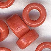 Vintage coral glass tile beads. 3x6mm. Pkg. of 50. b11-rd-0680