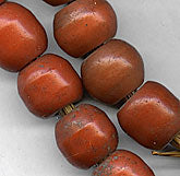 Old Ethiopian coral trade beads. Pkg of 4. b11-rd-0751