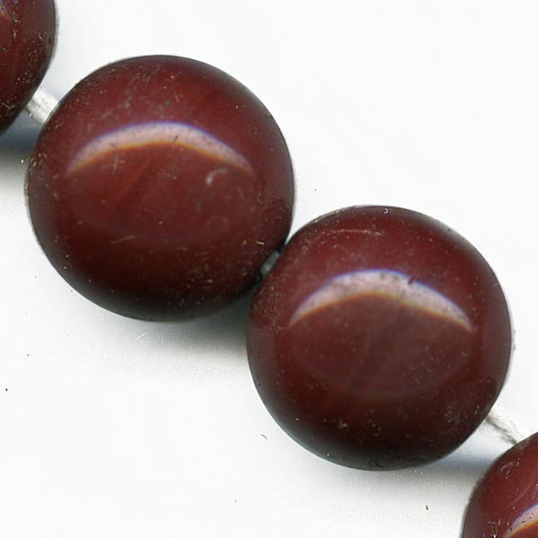 1930s Czech opaque red jasper glass rounds 14mm pkg of 4. b11-rd-0782(e)