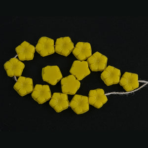 Vintage opaque yellow glass flat back flower beads or nailheads. 8x3mm. Czechoslovakia.  Strand of 25-b11-yo-0875