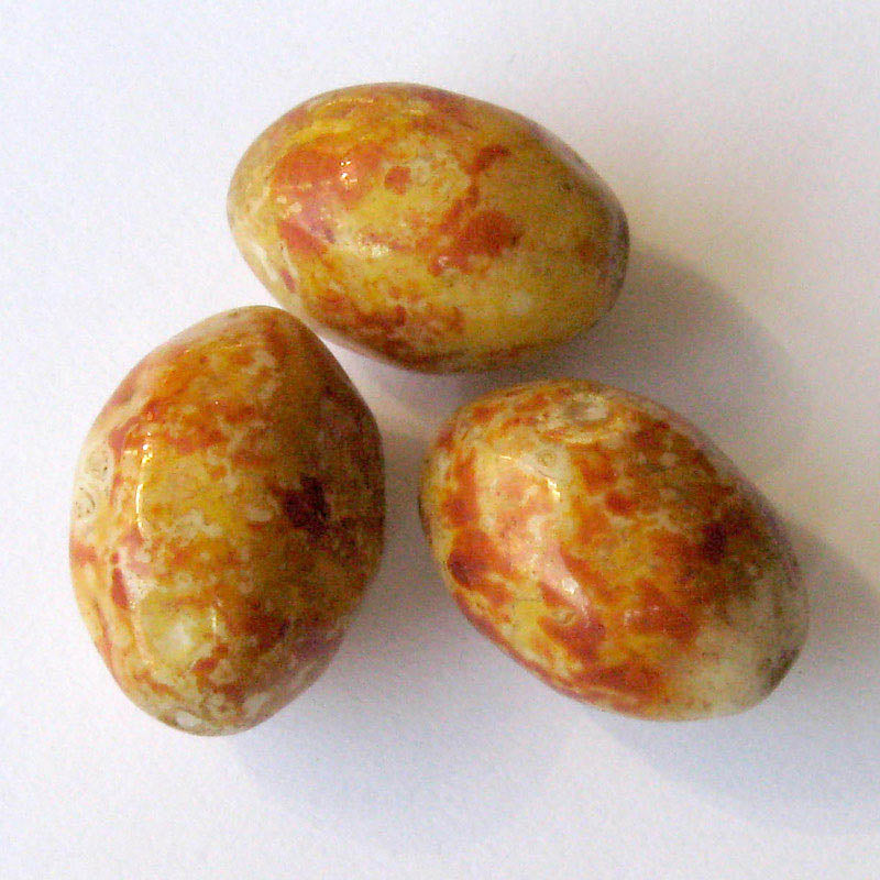Vintage faux jasper glass ovals, Picasso finish, Czechoslovakia 20x14mm pkg of 4. b11-yo-0923(e)