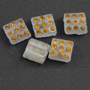 Rare Art Deco matte frosted glass 2 hole squares with rhinestones 8x8x4mm. Pkg of 6. b11-yo-0936