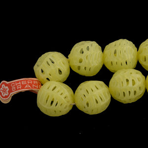 Vintage Japanese Spiderweb Lace Lampwork Glass Rounds. Opaque Pale Yellow. Cherry Brand. 17mm. Package of 1. B11-YO-0644