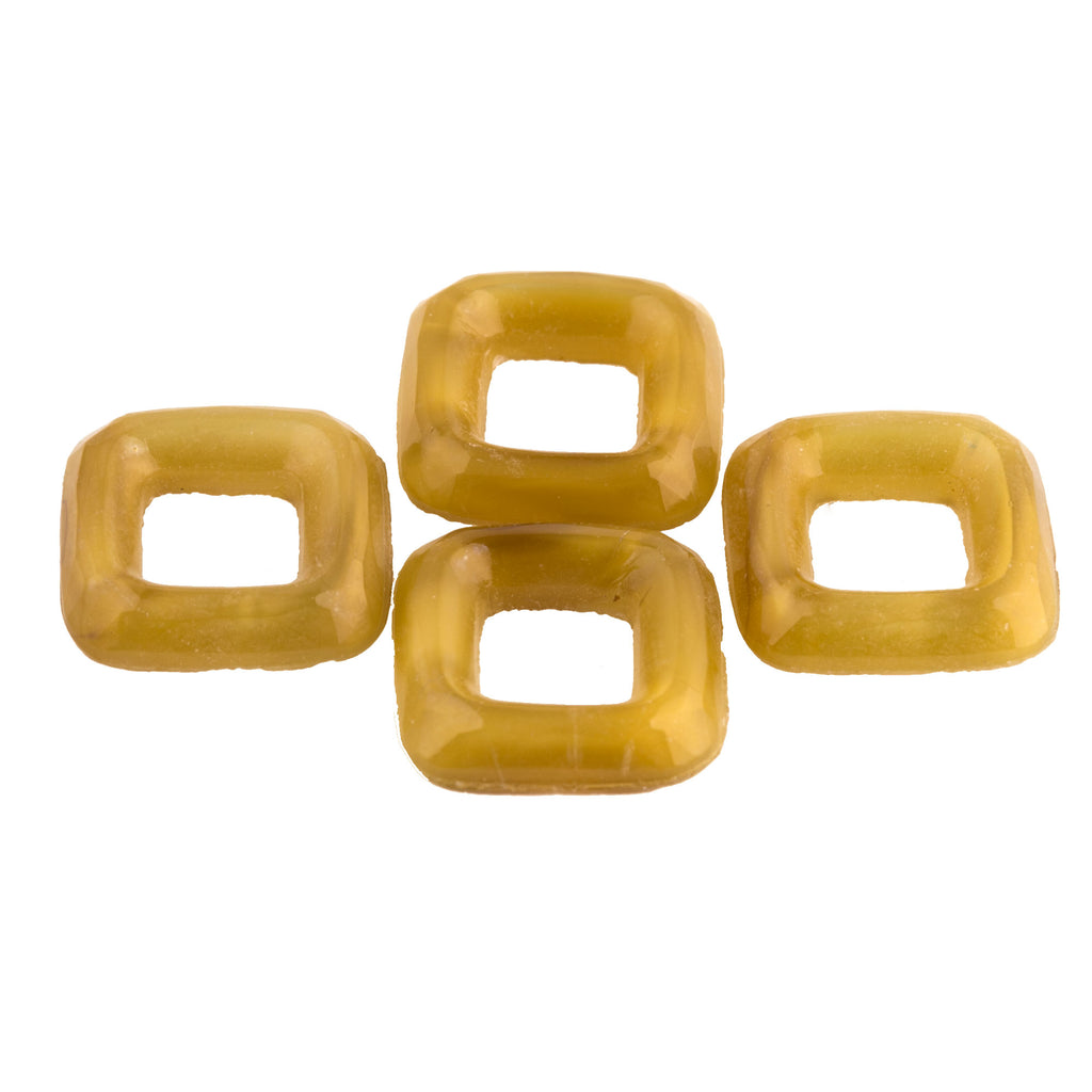 Old Bohemian Gablonz cloudy amber glass rings. 1926 15mm. Pkg of 4. b11-yo-0892(e)