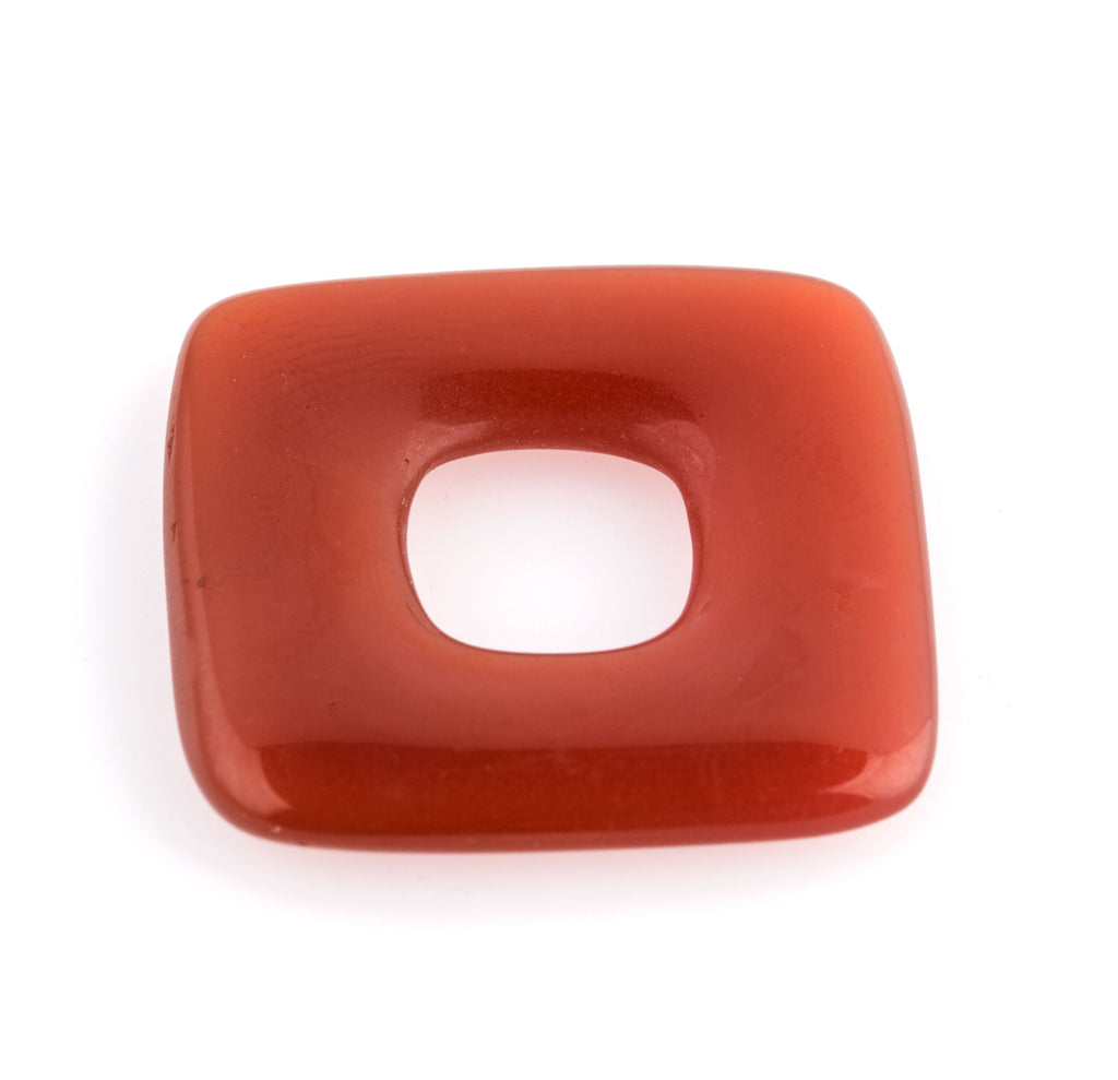 Old Bohemian Gablonz translucent carnelian glass rings. 25mm. Pkg of 1. b11-yo-0894