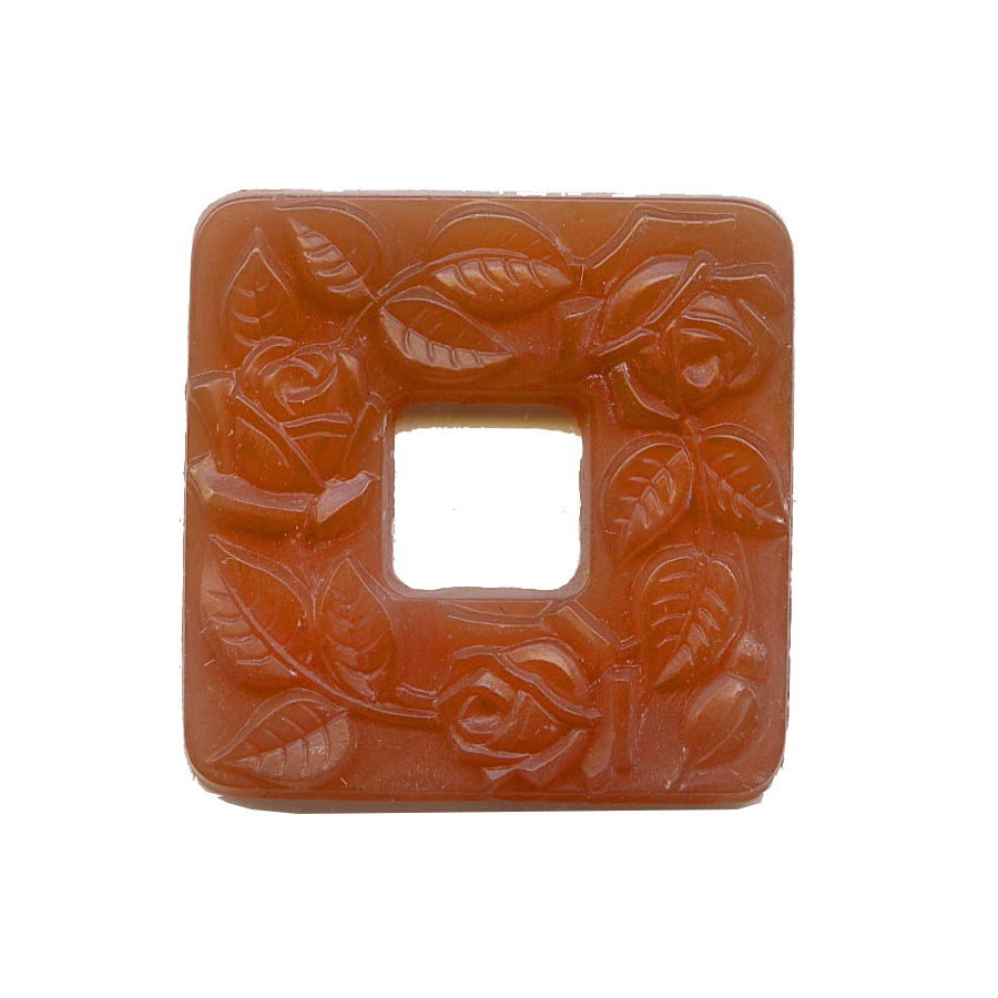 1920s Bohemian molded carnelian glass square rings with vine pattern 24x24mm pkg of 1. b11-yo-0926