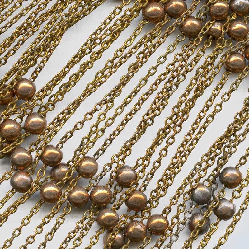 Vintage 16 inch length of 1mm fine cable chain with copper beads spring clasp, Korea. b12-chn558(e)