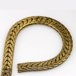 Vintage solid brass flat foxtail chain 4mm wide per foot. b12-chn585(e)