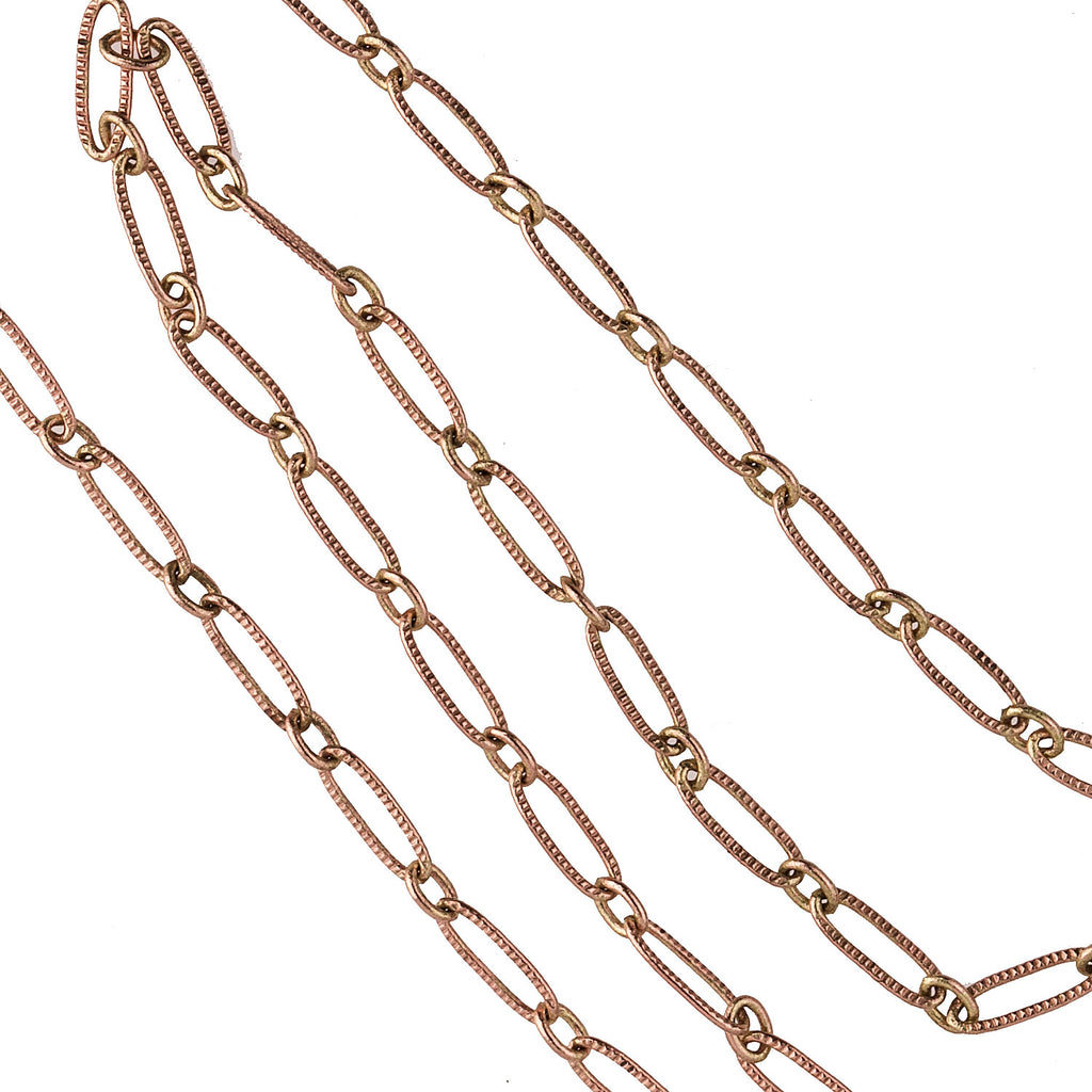 Brass etched oval link cable chain. Oval links are 9x3mm. Per foot.b12-chn710(e)