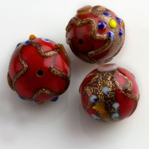Red Vintage Venetian Wedding Cake Bead. 12mm. Pkg of 1. B1-461(e)