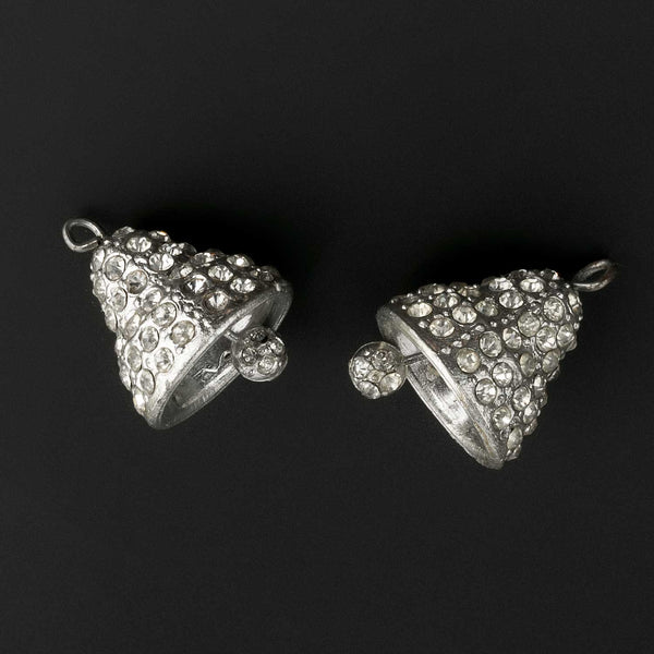 b14-672- A pair of 1930s white metal and rhinestone bell charms